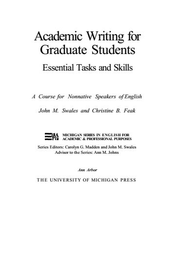 Academic Writing for Graduate Students  Essential Tasks and Skills A Course for Nonnative Speakers of English